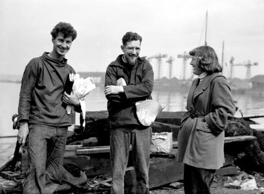 Edward Allcard (centre) in May 1952 with fellow sailors Ann Davison and Norman Fowler in Plymouth. Photo credit: PA Archive/PA Images