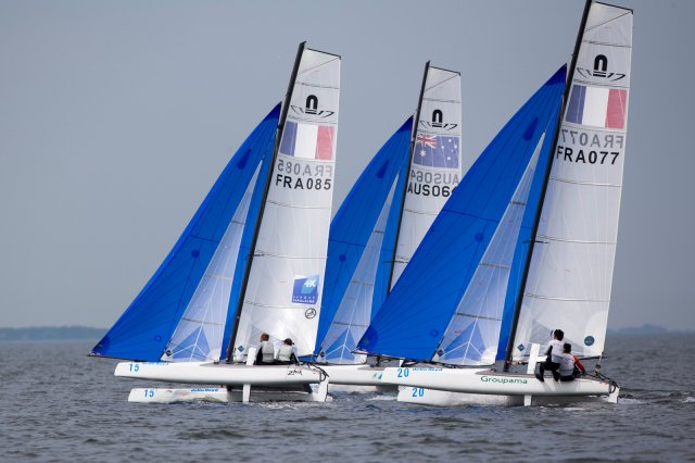 Nacra 17s. Photo by Sander van der Borch